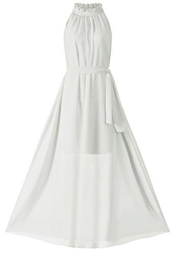 - VSVO Women White Halter Neck Sleeveless Chiffon Maxi Dress (One Size, White)