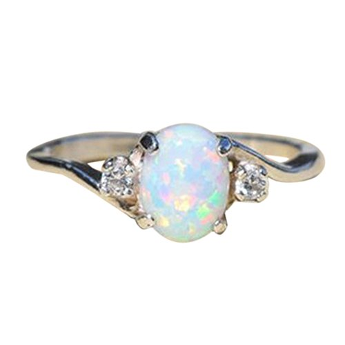 - shusuen Unique Exquisite Women's Sterling Silver Ring Oval Cut Fire Opal Diamond Band Rings
