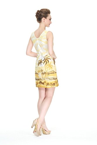 Hecho en Hawai Mujer hawaiano Luau Vestido de tanque Palm Scenic Mar en amarillo