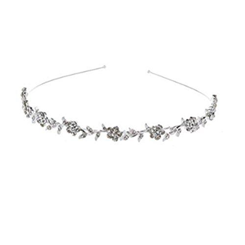 Coberllus Flower Girl Tiara For Wedding Bridal Bridesmaid Silver Hair accessories For Girls Headbands Headpiece (Silver 11)