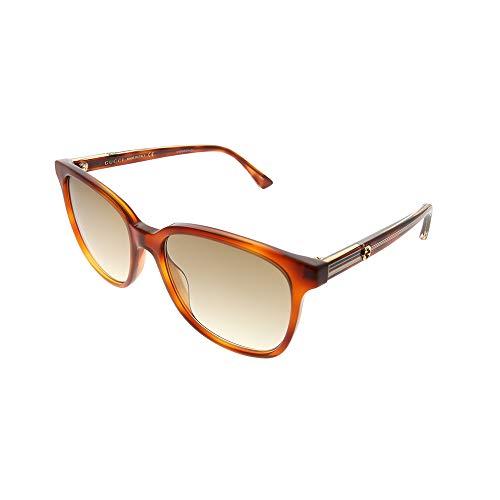 Gucci GG 0376S 004 Light Havana Plastic Square Sunglasses Brown Gradient Lens