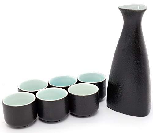 (NEWQZ Japanese Sake Set, Traditional Ceramics Black Sake Sets 1 Pot and 6 Cups, with a Gift Box)