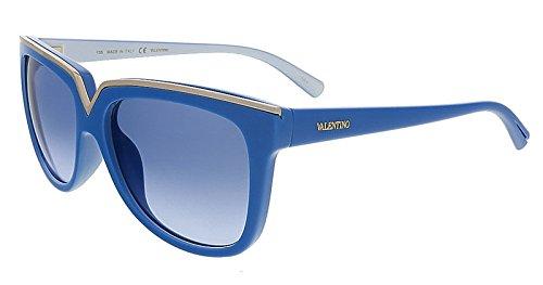 Valentino V638S 403 Pop Blue Wayfarer Valentino Sunglasses ()