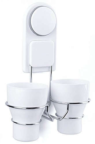 DEKINMAX Bathroom Couple Toothbrush Holder, Toothpaste Storage Cup/Rack with Wall Mount Suction Cup
