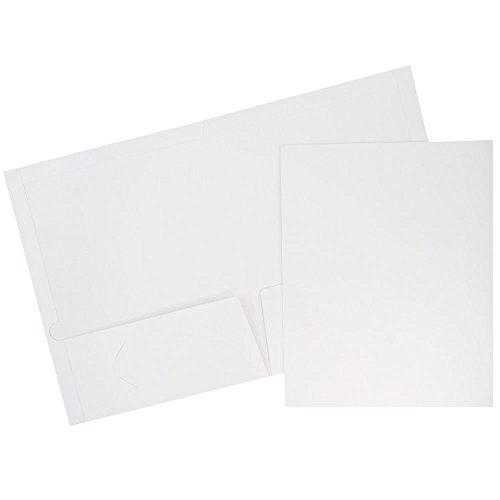 JAM PAPER Laminated Two Pocket Glossy Folders - White - Bulk 25/Pack