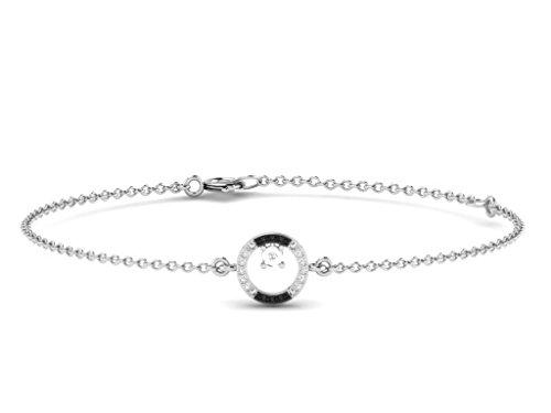 Or Blanc 9 ct Bracelet Diamant en forme de rond, 0.04 Ct Diamant, GH-SI, 1.14 grammes.