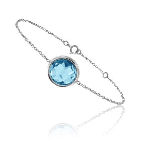 Tousmesbijoux Bracelet chaine Or blanc750/00 et topaze bleue taille ronde