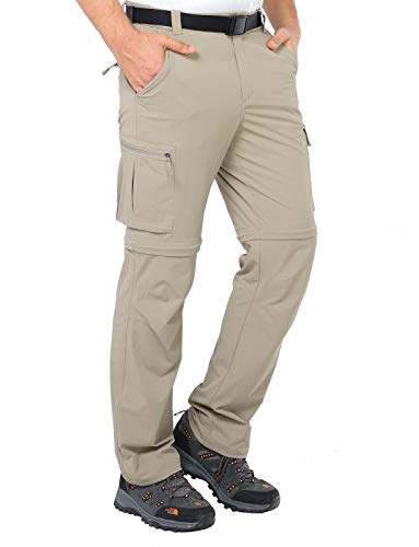 MIER Men's Convertible Pants Quick Dry Cargo Pants Lightweight Comfort Stretch for Hiking Travel, 7 Pockets, Rock Grey, ()