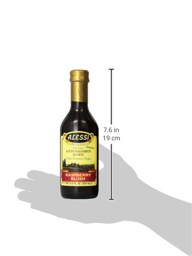 Alessi, vinegar raspberry, 8. 5 fl oz (2 pack) 5 product of italy (modena) wonderful blend of italian white wine vinegar & the must of white grapes infused with raspberry crisp & delicate taste