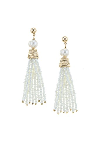 Je Me Costume (KARMAS CANVAS FRESH WATER PEARL SEED BEAD TASSLE EARRINGS (Gold))