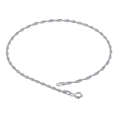 925 Sterling Silver Singapore Chain Anklet 9 inch with Spring Ring Clasp