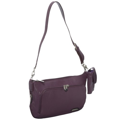 Travelon Leather East/West Shoulder Bag (Eggplant), Bags Central