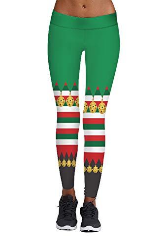 Meenew Women's Ankel Length Stripe Printed Christmas Tights Leggings Yellow L for $<!--$11.99-->