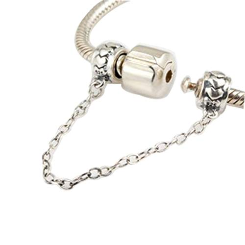 Clasp Safety Chain Charm 925 Sterling Silver Clip Stopper Charm for Women Charm Bracelet (heart) ()