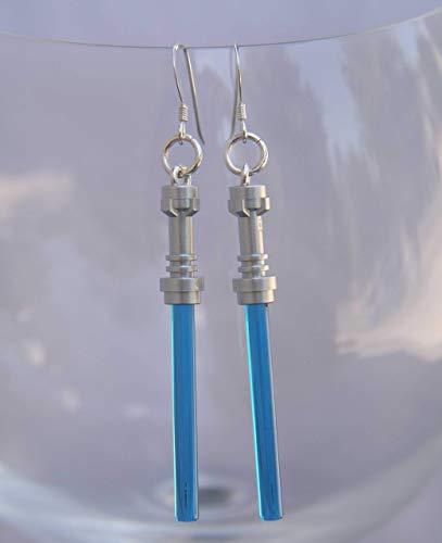 (Star Wars Lightsaber Handmade Earrings Jewelry STERLING SILVER Hooks Dark Blue Christmas or birthday party gift stocking stuffer for teen girls or women)