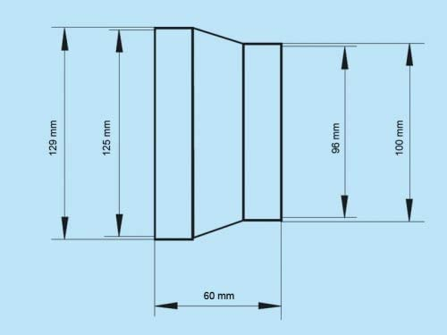 Raccord de r/éduction Raccord de passage rond Syst/ème dair /Ø 125  /Ø 100 Ventilation Raccord r/éducteur r/éducteur