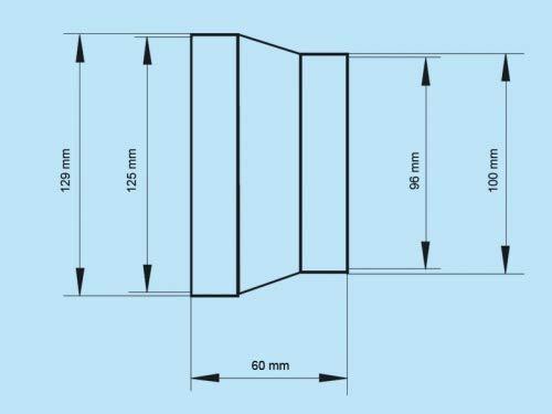 Reduzierst/ück Reduzierverbinder Reduktion /Übergang rund L/üftung Abluft Zuluft System /Ø 125  /Ø 100