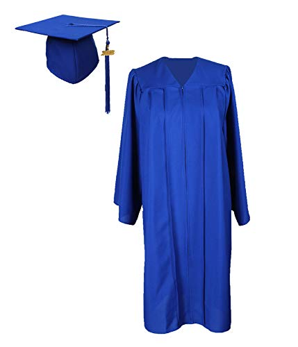 GradPlaza Graduation Gown with Cap and Tassel 2019 Unisex Matte Robe Royal Blue -