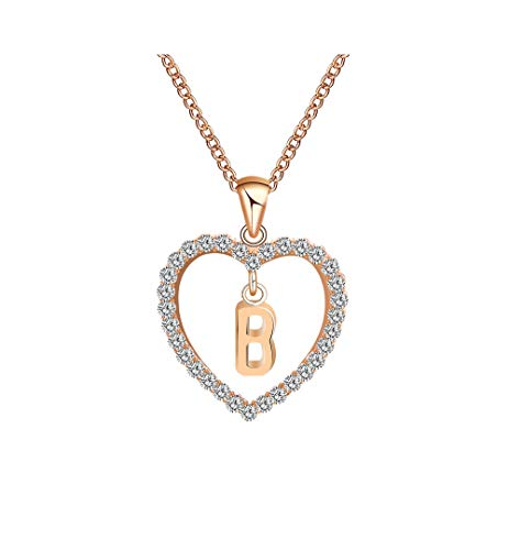 Gbell Fashion Girls Women A-Z Letters Necklaces Charms,26 English Alphabet Name Chain Pendant Necklaces Jewelry Birthday Gifts, Ideal for Party Costume,Wedding,Engagement (B) -