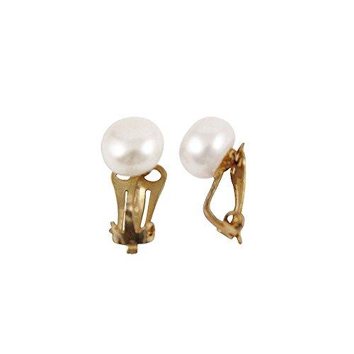 9ct or blanc perle d'eau douce Stud Clip sur boucles d'oreilles avec boîte cadeau
