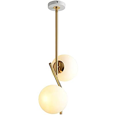 BOKT Mid Century Modern 2-Light Chandeliers Lighting, Golden with White Frosted Glass Globe Lampshade Pendant Light Fixture Indoor Minimalist Design Decor