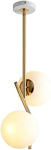 BOKT Mid Century Modern Kitchen Pendant Light 2-Lights Chandeliers Lighting Fixture, Golden with White Frosted Glass Globe Lampshade Pendant Light Fixture Indoor Minimalist Design Decor Large