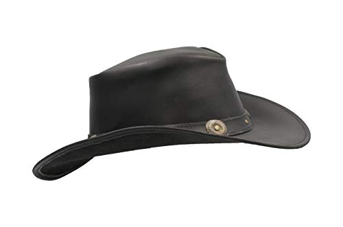 (Walker and Hawkes - Leather Cowhide Outback Cowboy Conchos Hat - Black - S (57cm))