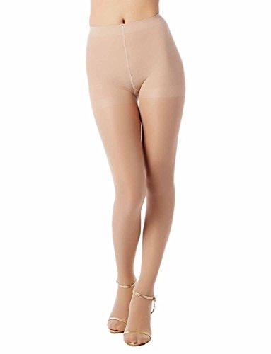iB-iP Women's hosiery nude black soft ice silk Mid Waist Sheers Tights Pantyhose, Size: M-L, Cream