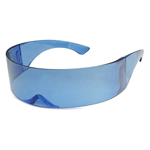SunglassUP - Wrapped Around Futuristic Cyclops Mirror Single Lens1 Piece PC Sunglasses (Light Blue, Light Blue) -