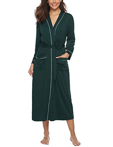 Sykooria Womens Lightweight Cotton Knit V-Neck Long Kimono Robes Bathrobe Soft Sleepwear Loungewear Cotton Extra Long Robe