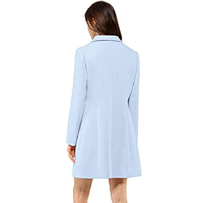 Allegra K Women's Notched Lapel Single Breasted Outwear Winter Coat: Clothing