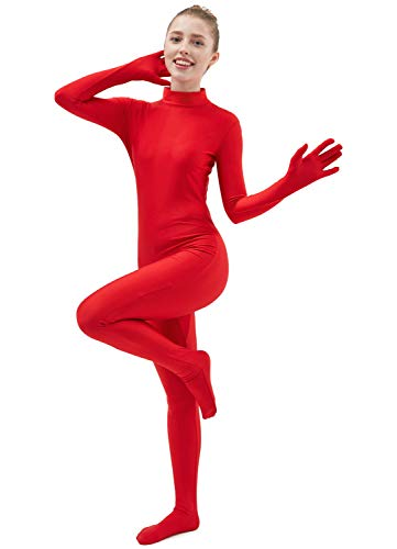 Ensnovo Womens One Piece Unitard Full Body suit Lycra Spandex Skin Tights Red,XL (Full Body Spandex Suit Costume)