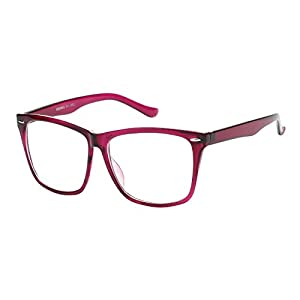 5zero1 Fake Glasses Big Frame Nerd Party Men Women Fashion Classic Retro Eyeglasses, Purple