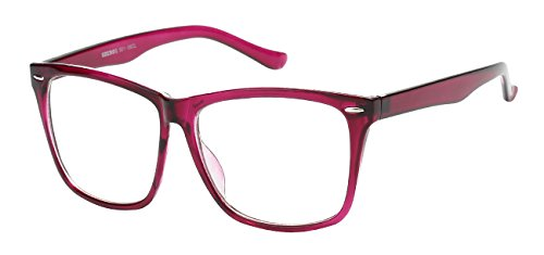 5zero1 Fake Glasses Big Frame Nerd Party Men Women Fashion Classic Retro Eyeglasses, Purple