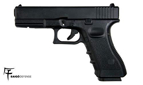 SAIGO Airsoft - Pistolet 17 Noir Gaz -Semi Automatique -Culasse Mobile en métal blowback- Puissance 0.5 Joule 1