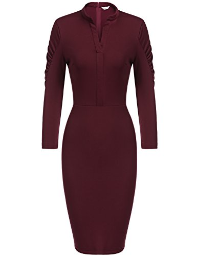 Shawl Collar Sheath (ANGVNS Women Retro 3/4 Sleeve Fitted Office Sheath Dress, Wine Red, L)