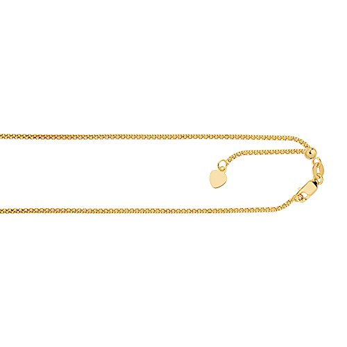 (MCS Jewelry 14 Karat Rose, White OR Yellow Gold Bright-Cut Adjustable Popcorn Chain Small Heart Charm (Yellow-Gold))