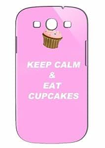 Case Fun Samsung Galaxy S3 (I9300) Case - Vogue Version - 3D Full Wrap - White Keep Calm & Eat Cupcakes