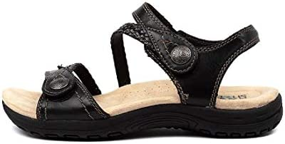 PLANET Crop Black Leather Black Womens Flat Sandals Summer