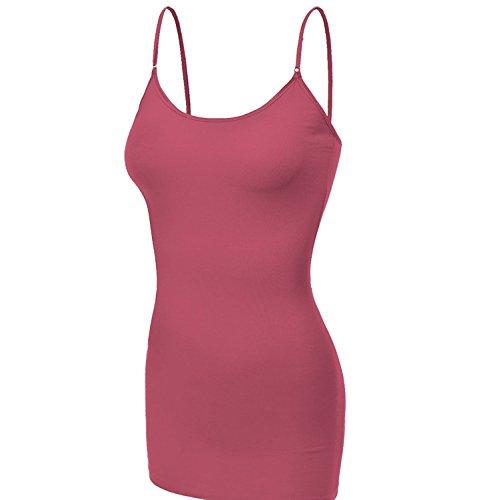 (Emmalise Clothing Women's Basic Casual Plain Long Camisole Cami Top Tank, Dusty Rose, X-Large)