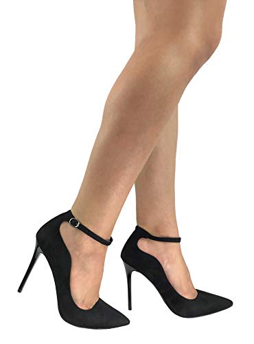 Forever Collection Womens Classic Elegance High Heel Pumps with Ankle Strap, Black Suede, 6.5
