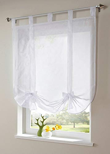 (Uphome Sheer Tie Up Shade, Chic Bowknot White Balloon Window Shades - Tab Top Kitchen Roman Curtain,39 x 55 Inch, Pack of 2)
