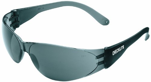 MCR Crews CL112 Checklite Safety Glass, Clear Frame, Smoke Lens, Coated Anti-Scratch, 1 Pair by MCR Safety by MCR Safety