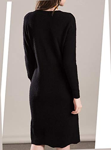 Vrac Noir Cachemire V F5093 Col Dissa 100Manche Femme Longue En Robe Pull Tricot Y6gybf7Iv