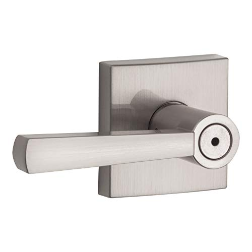 Baldwin Spyglass Privacy Lever for Bedroom or Bathroom Door Handle in Satin Nickel, Prestige Series with a Modern Contemporary Slim Design for Interior Doors