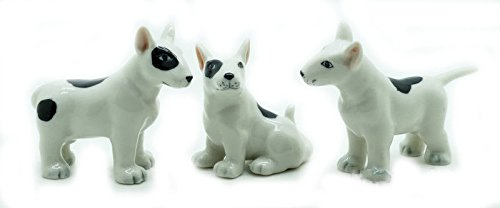 Grandroomchic Animal Miniature Handmade Porcelain Statue 3 Bull Terrier Dog Figurine Collectibles Gift