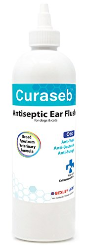 Curaseb | #1 Dog Ear Infection Treatment – Solves Itching, Head Shaking, Discharge & Smelly Ears Due to Mites, Yeast & Bacteria – Veterinarian Formulated – 100% Empty Bottle Satisfaction Guarantee