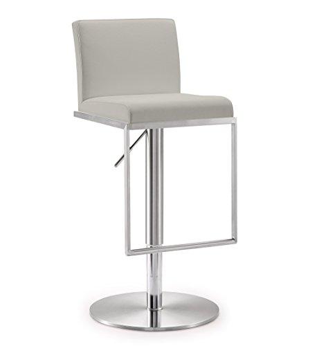 Tov Furniture Amalfi Light Grey Steel Adjustable Barstool,