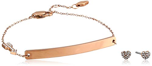 (Fossil Women's Heart and Arrow Rose Gold-Tone Stainless Steel Studs and Bracelet Box Set, One Size)