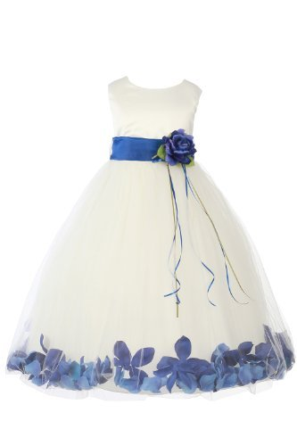 89c3ac8191 JM DREAMLINE Ivory Royal Blue Girls Sleeveless Satin Flower Petal Dress  with Sash-2